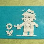 紙の素材感を生かしたシンプル切り絵。