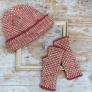 ねじりゴム編みの帽子とハンドウォーマー