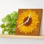釘と糸で作る「ひまわりの時計」/ストリングアート