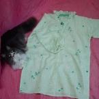 母の柔らかシルク襦袢でパジャマを作りました
