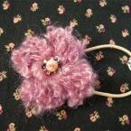 くるくるカールモヘアのお花 ヘアゴム
