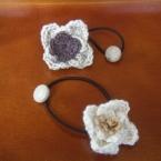 コットン毛糸の花の髪ゴム02