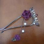 毛糸の花のかんざし