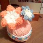 毛糸と綿棒でかわいいお花たち*