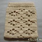 たこ糸で編むガーベラのぱっくんポーチ