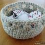 リネンでざっくり編んだミニかご