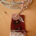 紅茶染め桜レース&羽根の鳥籠レザーネックレス