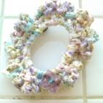 花柄布の編みシュシュ*