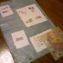 蝋引き紙のコラージュランチョンマットとコースター