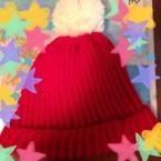 1目ゴム編みのニット帽