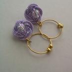 水引で作る紫陽花イヤリング