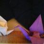 八角形でおり紙を折って今度は折り鶴に挑戦