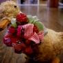 リボンで作ったお花のヘアゴム