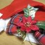 クリスマスのリボンヘアクリップブローチ