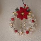 毛糸のふわふわクリスマスリース