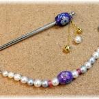 トンボ玉 かんざしと羽織紐 本真珠を使って