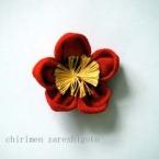 古布で作る梅の花