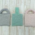 ダブルフックアフガン針で編むミニバッグ