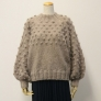モヘアハンドレッドで編む ボップル編みのふんわり袖