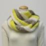 モヘアハンドレッドで編む ななめ編みの3色スヌード