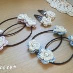 簡単☆レース糸でお花のヘアゴム&ヘアピン