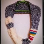 2目ゴム編みと表編みだけのスヌード