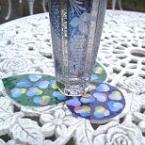 丸シールで紫陽花コースター