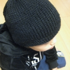 簡単輪編みのニット帽☆小学生用