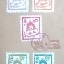切手風&消印(消しゴムハンコ)
