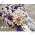 指編みのシュシュと花飾り