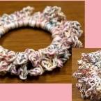 かぎ針編みのシュシュ・簡単編み方写真つき