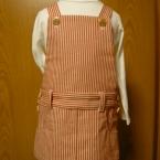 ヒッコリーデニムのサロペットスカート