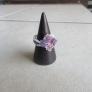 スワロで編む紫陽花リング