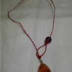 カーネリアンとヘンプの簡単ネックレス
