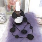 簡単♪黒い花モチーフのラリエット #106