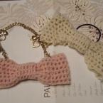 春糸で編むリボンのヘアゴム&チャーム#40