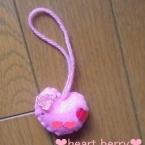 ピンクのハートのバッグチャーム