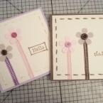 リボンとぼたんを使ってお花のカード