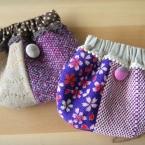 手織り布のパックンポーチ~その1(ちりめん布)