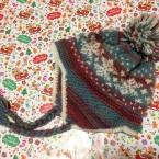 編み込み模様の耳あて帽子