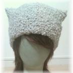 とんがり耳の帽子※表編み詳細つき