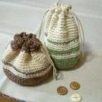 麻糸のミニ巾着