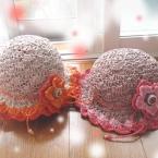 かぎ編み エコアンダリア 帽子 お花付き