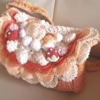 かぎ編み オレンジ パフェの通園バッグ
