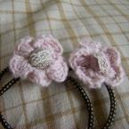 ピンクお花の髪ゴム