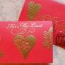 エンボス加工のバレンタインカード