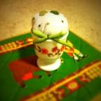 エッグカップのミニミニピンクッション