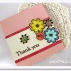 スタンプで作る、カラフルなお花のカード