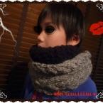 アラン編みとブークレーのスヌード 子供用❤