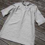 リネンのシャツワンピ